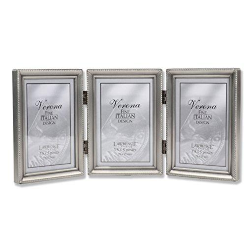 Lawrence Frames Antique Pewter Hinged Triple 3x5 Picture Frame ...